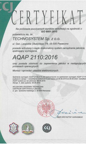 Certyfikat AQAP 2110:2016