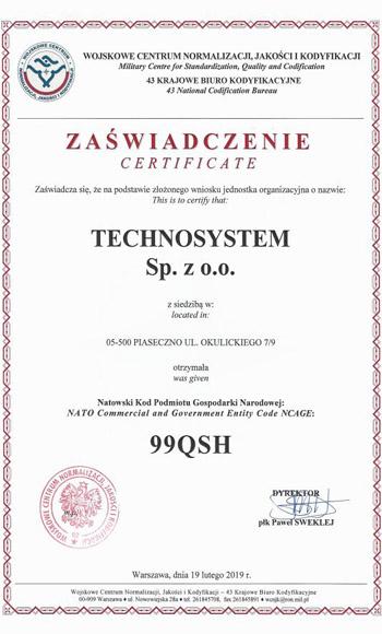 Certyfikat - Wojskowe Centrum Normalizacji, Jakości i Kodyfikacji